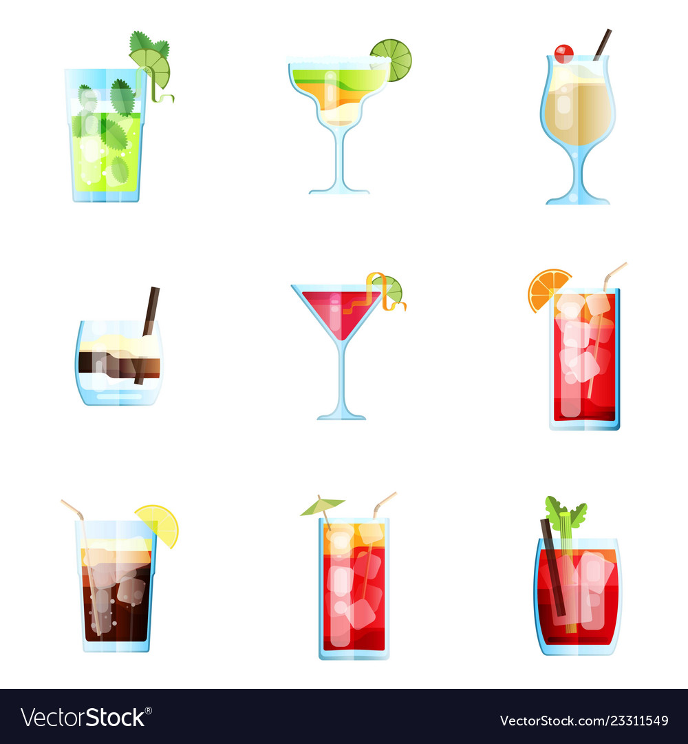 Set nine tropical cocktails mojito margarita