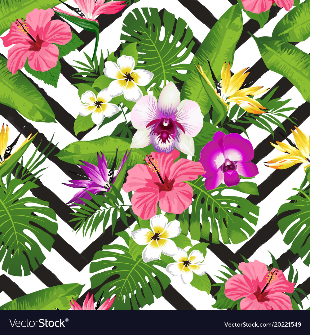 Tropical Flowers And Palm Leaves On Zig Zag Vector Image Select from premium tropical leaves of the highest quality. vectorstock
