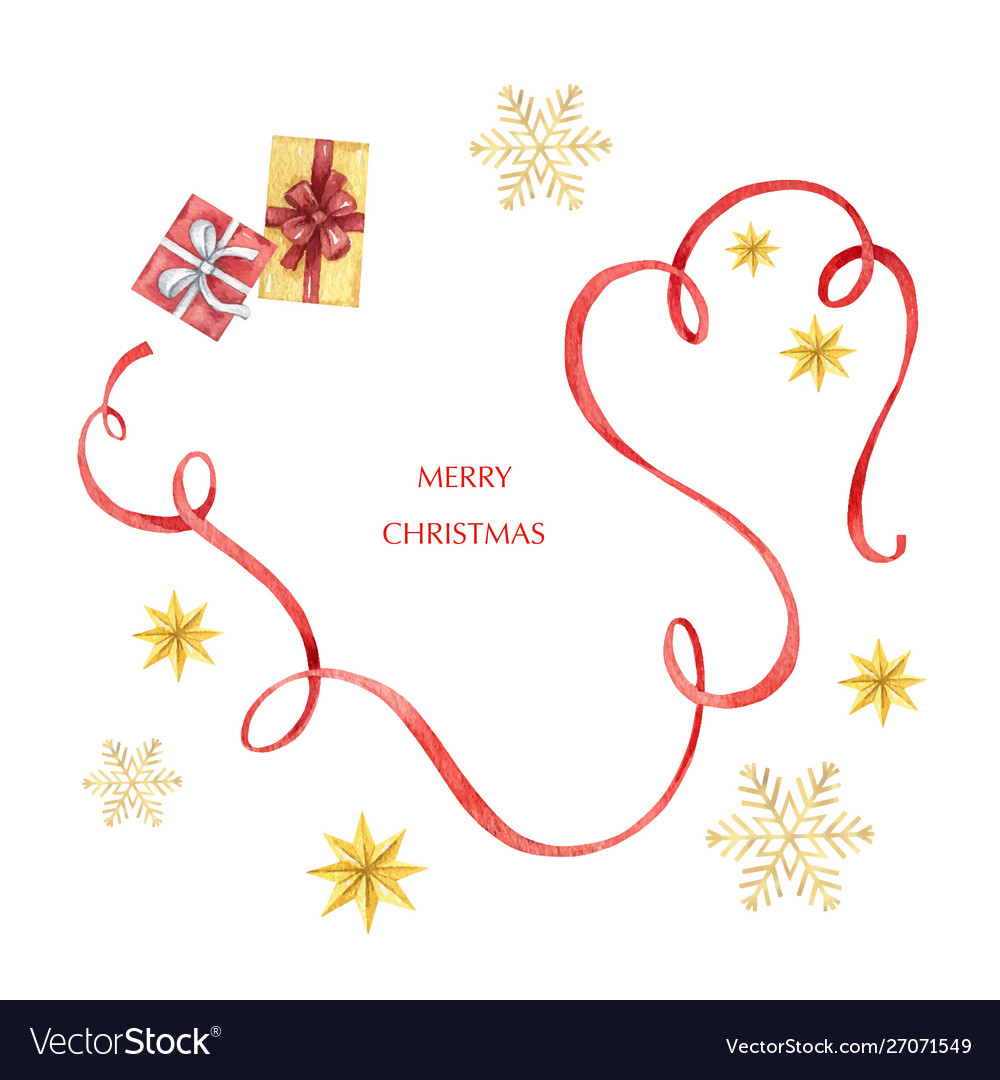 Watercolor christmas card with red ribbon