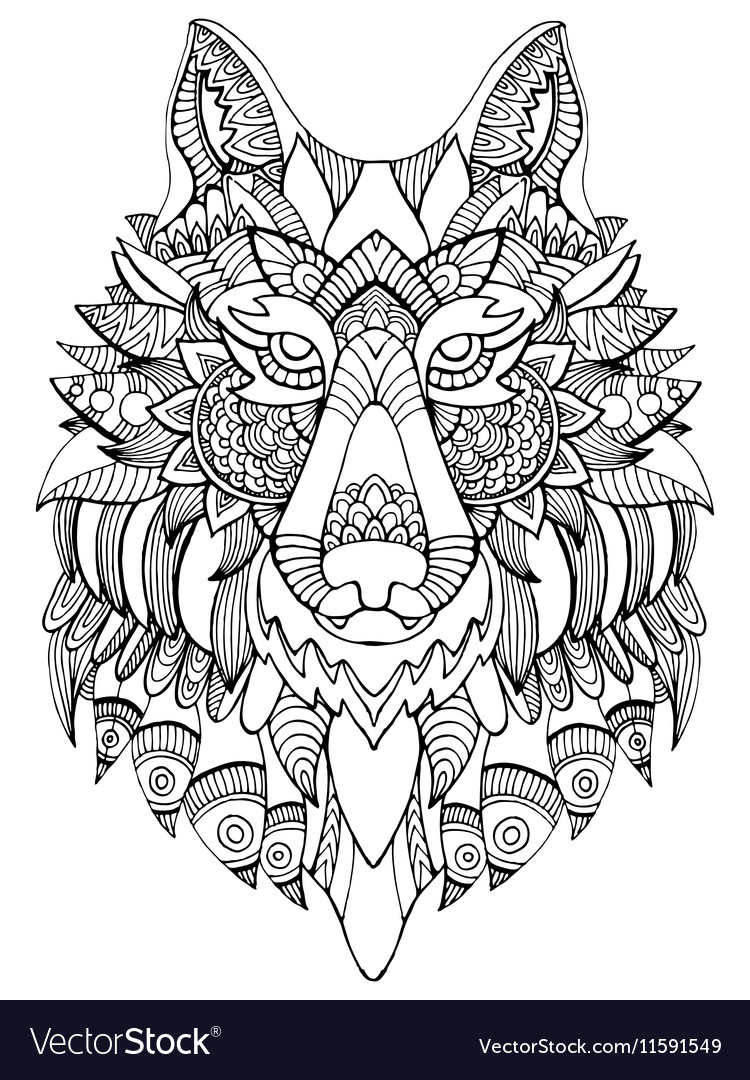 Wolf Coloring Book For Adults Royalty Free Vector Image