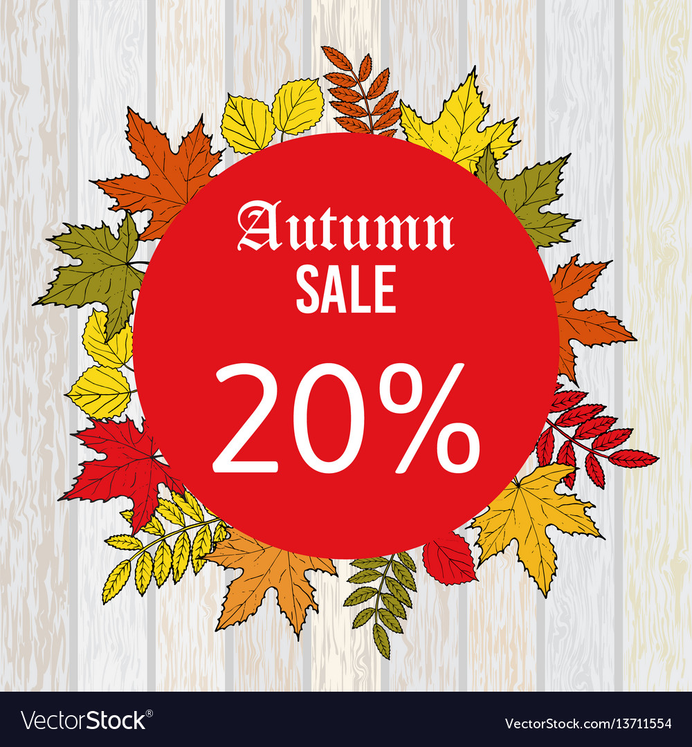 Autumn sale discount design with colorful leaves