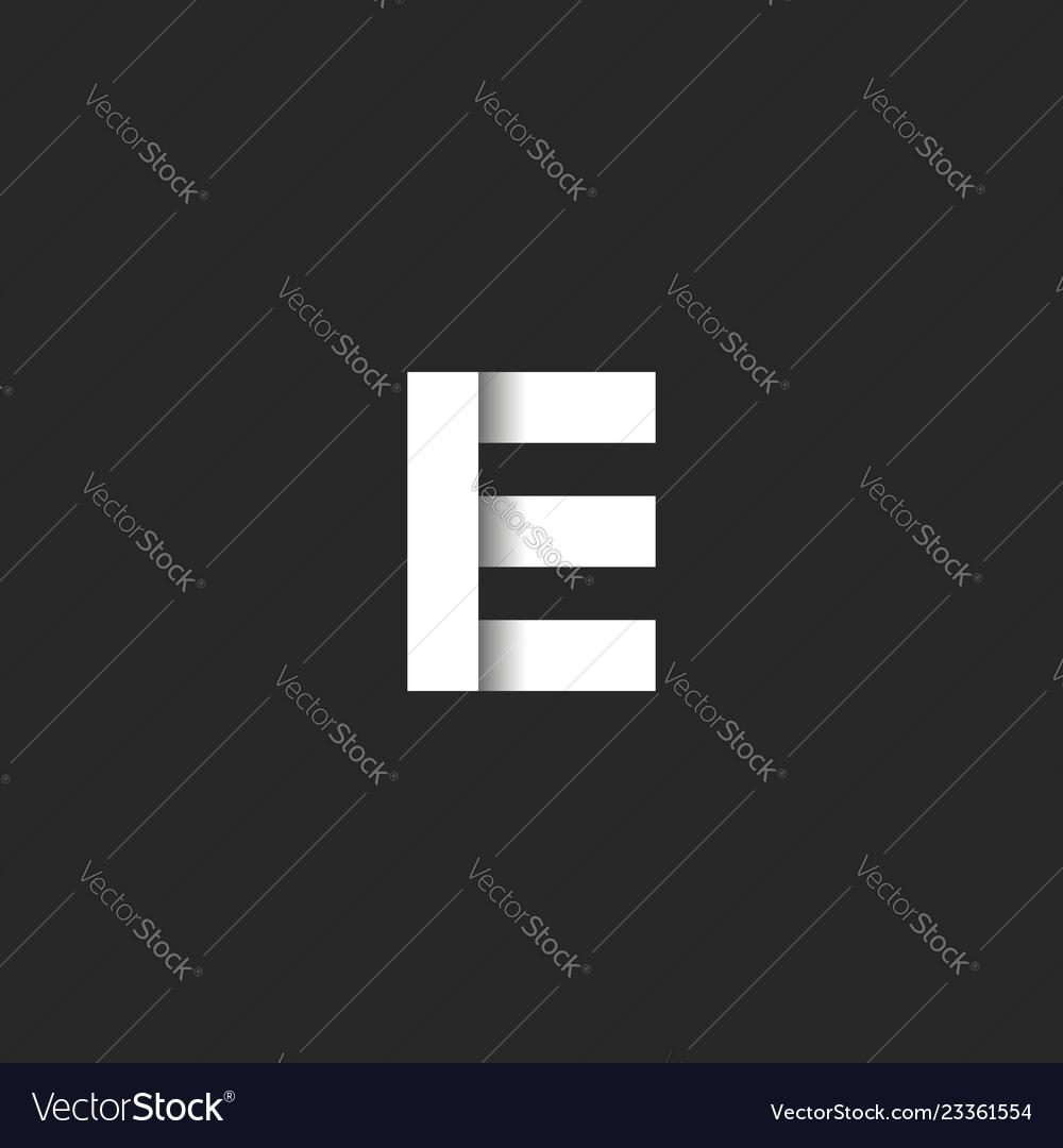 Bold letter e logo monogram paper cut style