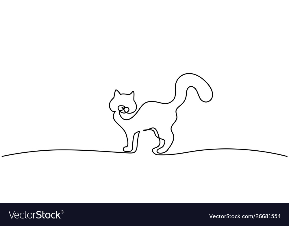 Cat standing with curled tail line drawing