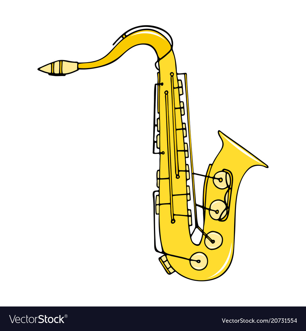 Color hand-drawn musical instrument - saxophone