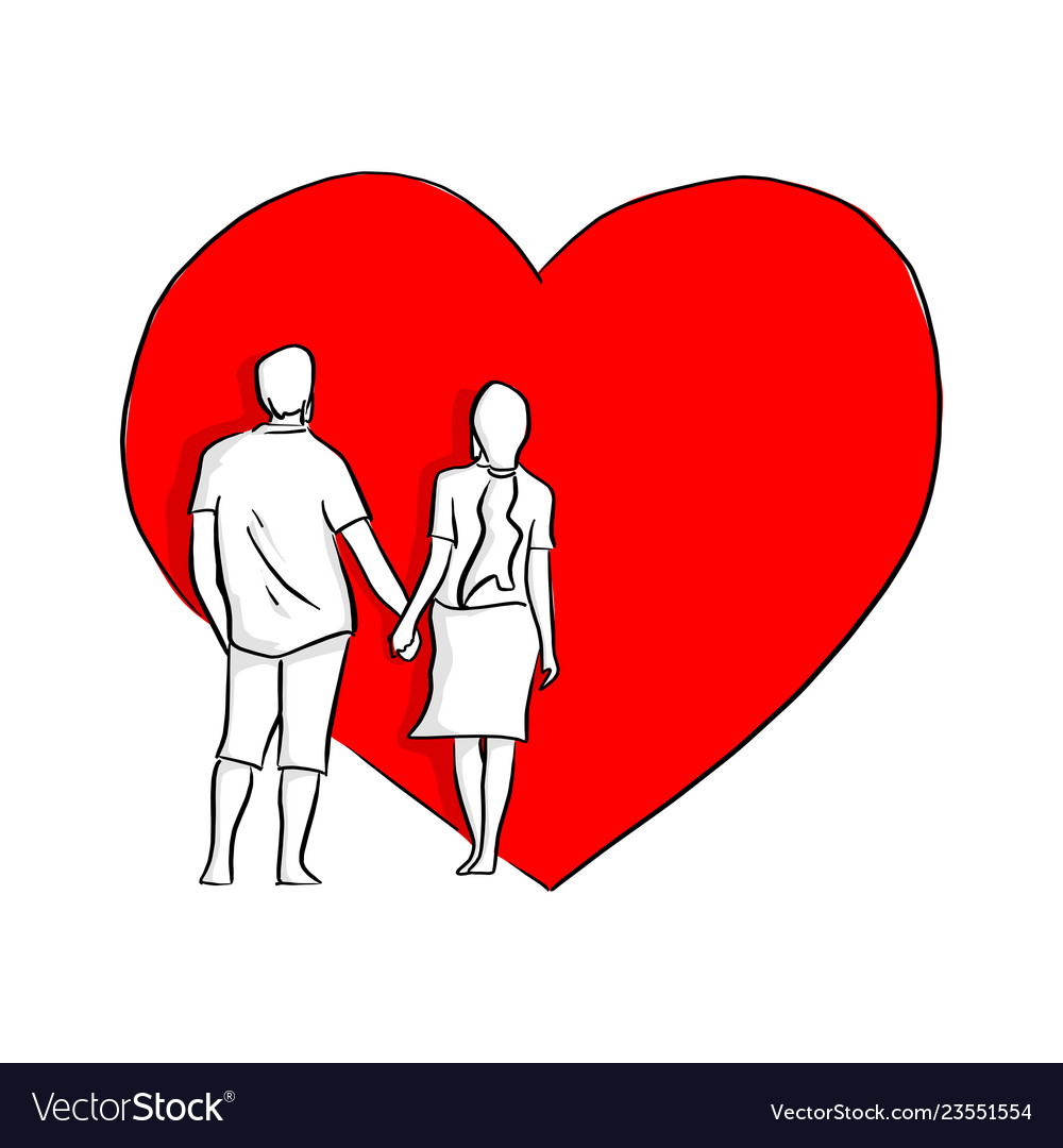 Couple holding hand on big red heart shape