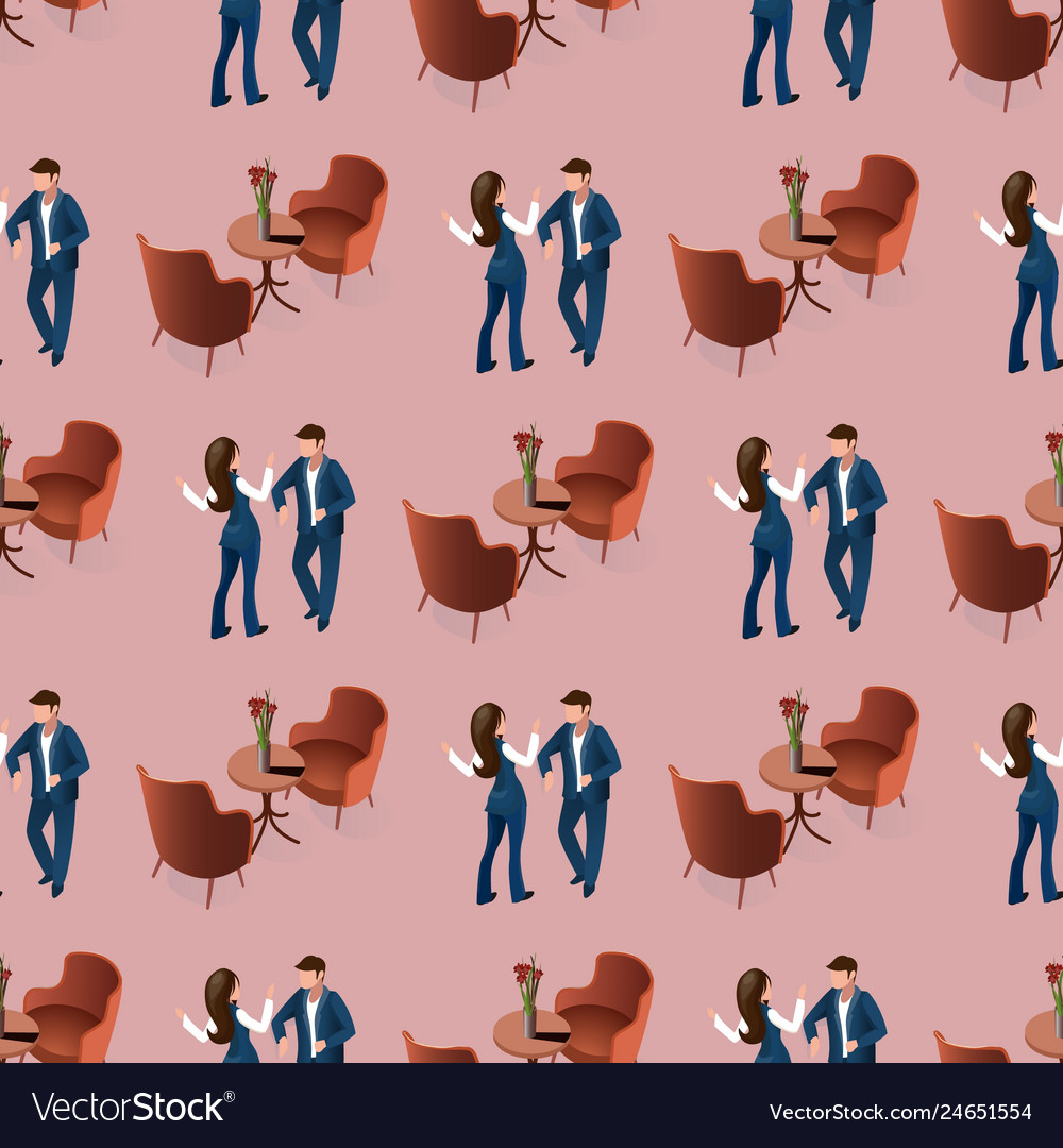 Love couple dating at restaurant seamless pattern
