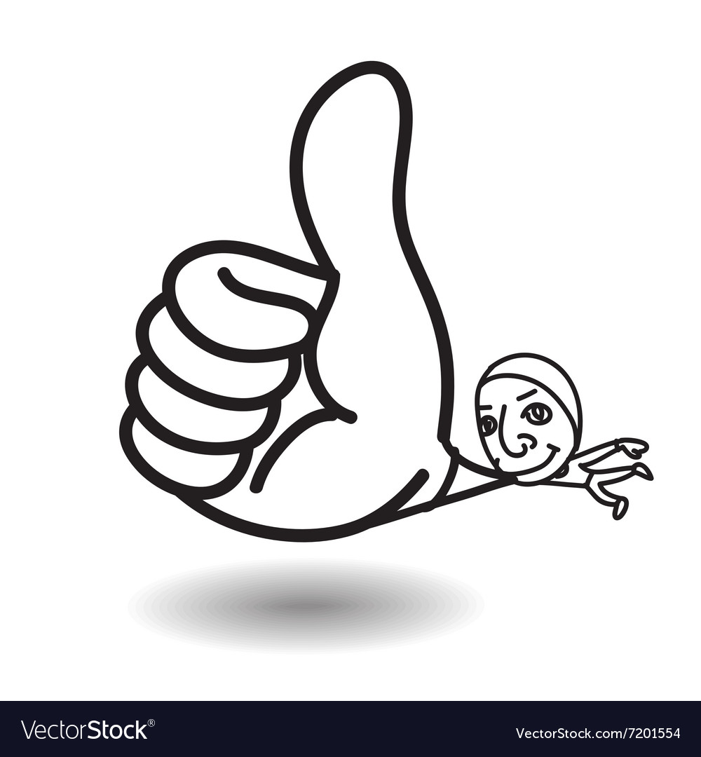 Man show big thumb up while floating vector image
