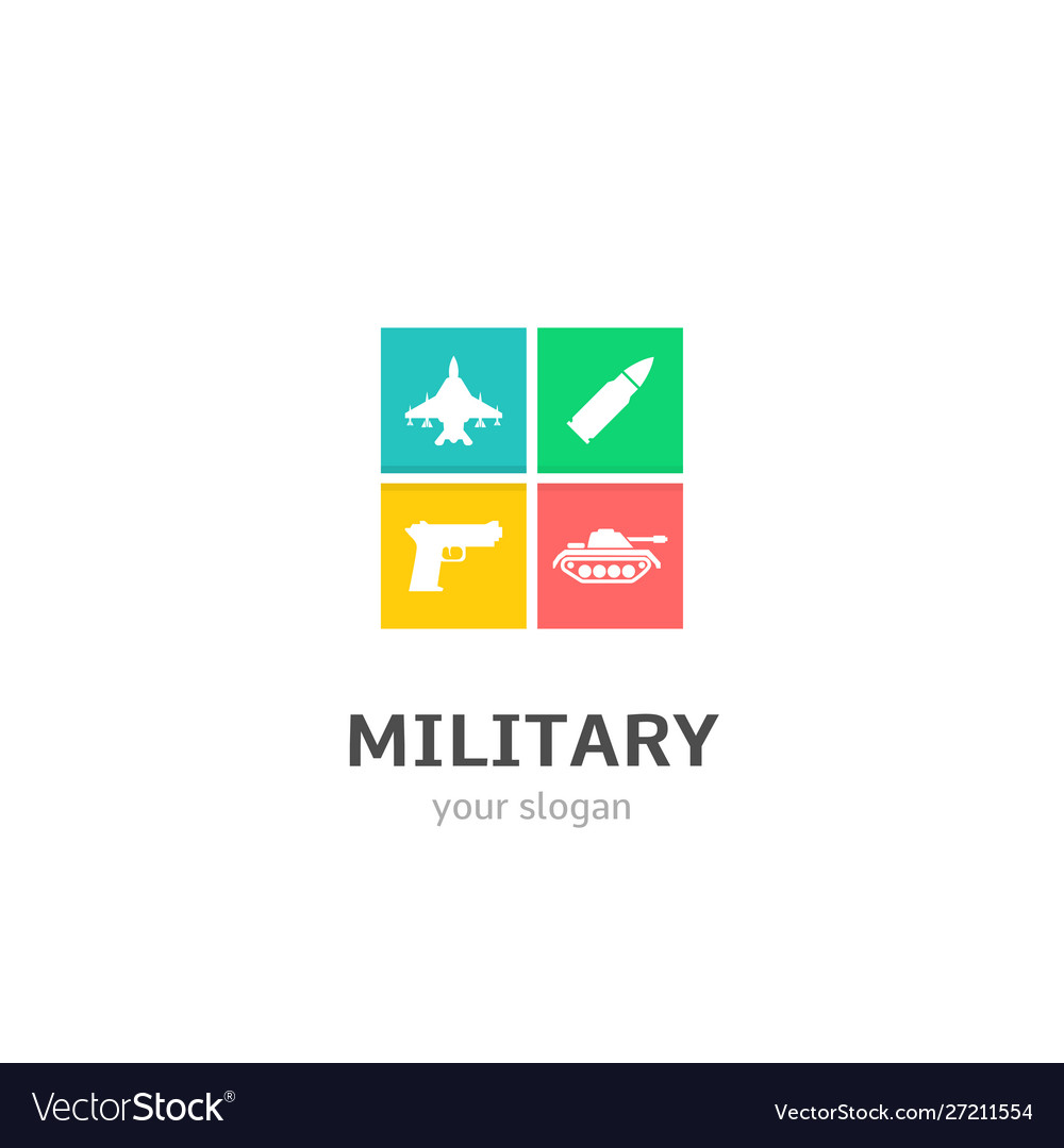 Military icons flat style logo design with fighter