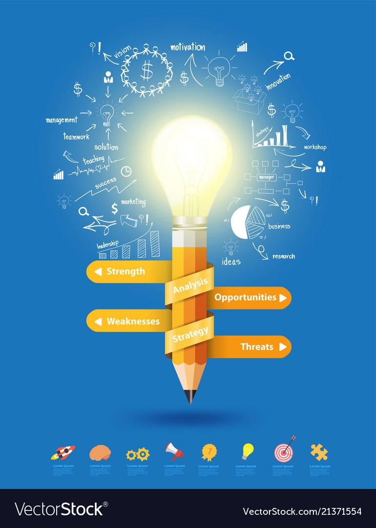 Pencil light bulb as creative concept