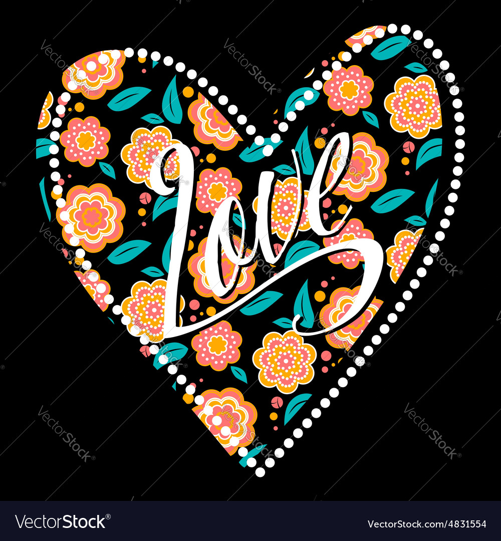 Postcard with heart on dark floral pattern