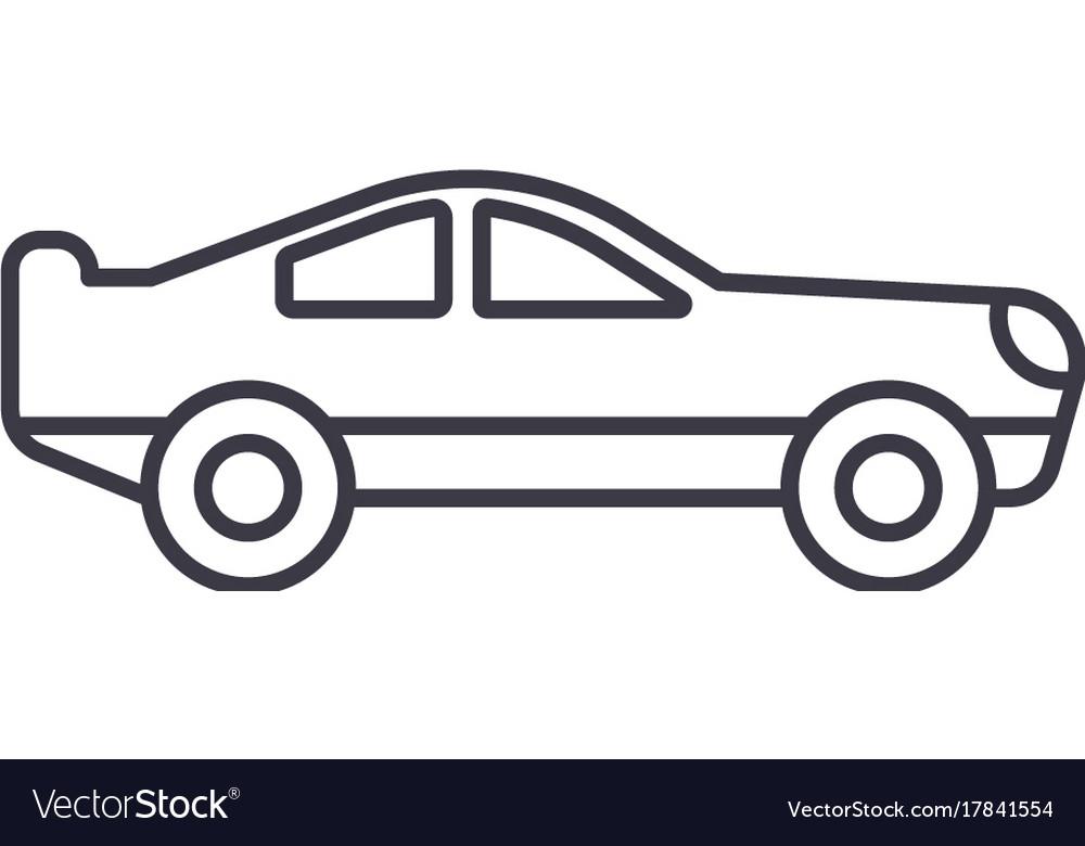 Retro racing car line icon sig