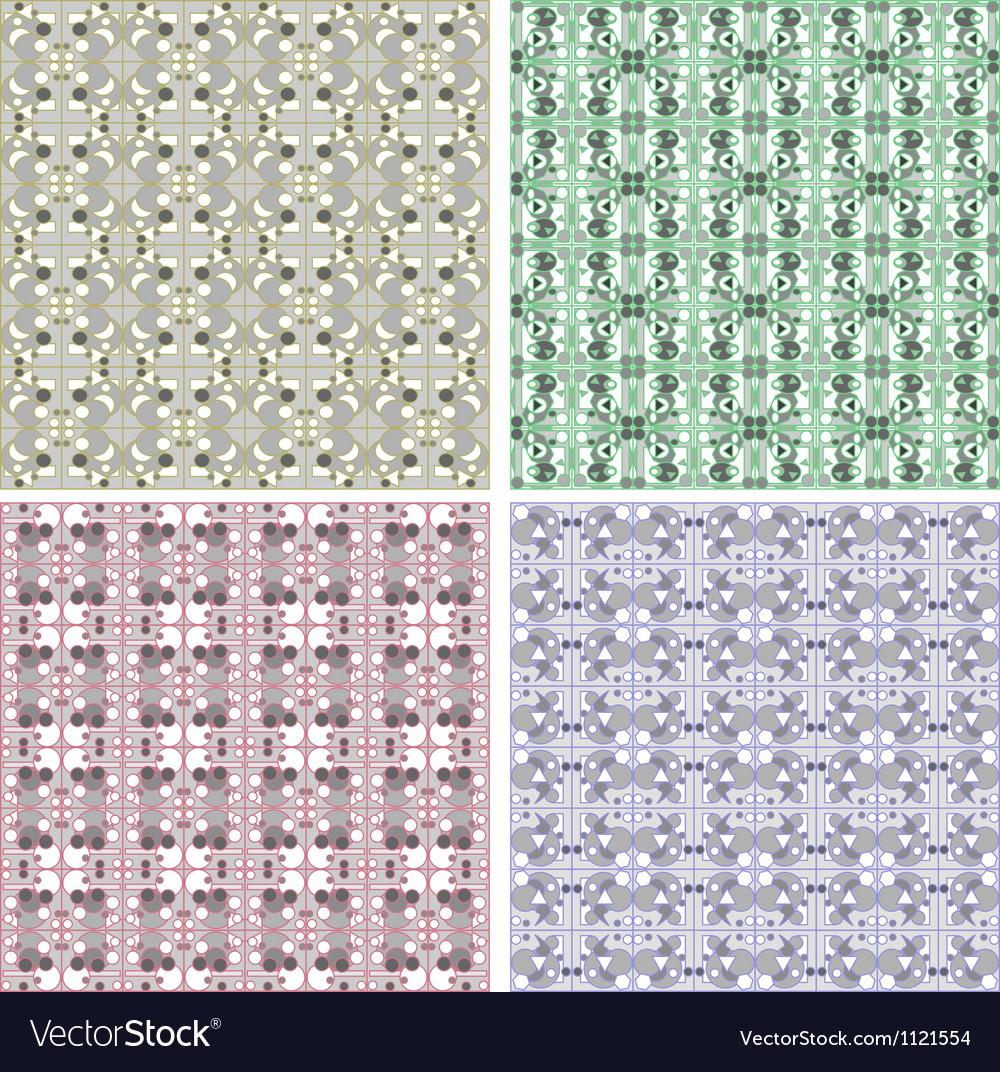 Set of Damask seamless floral pattern Vintage vector image