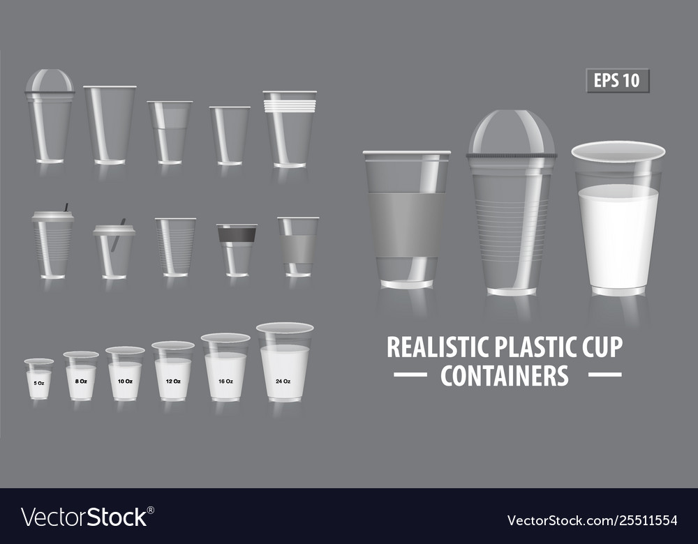 Set realistic colorfull cup containers