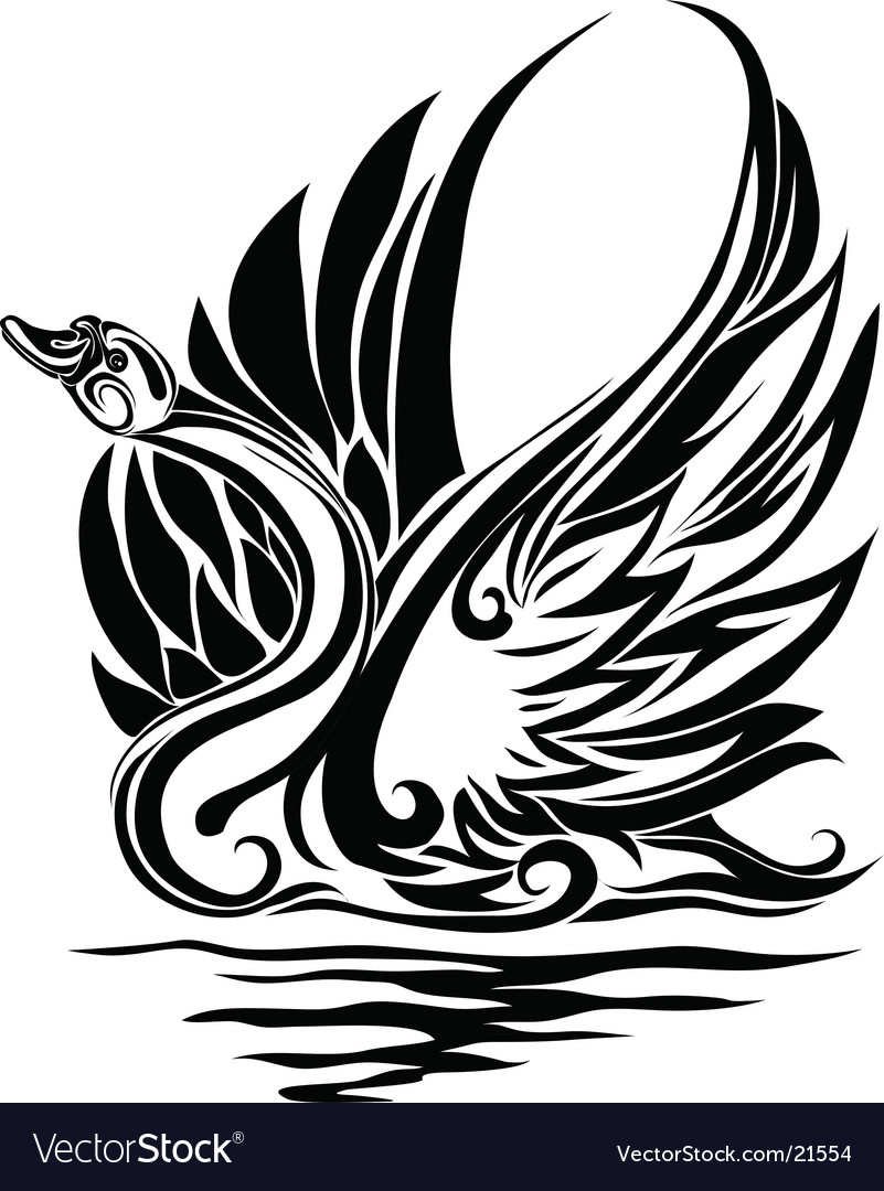 Silhouette of a swan vector image