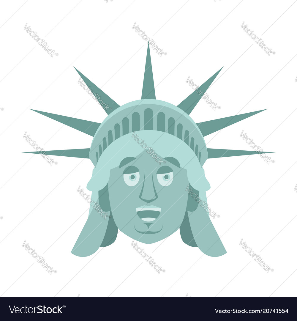 Statue of liberty happy emoji us landmark statue vector image