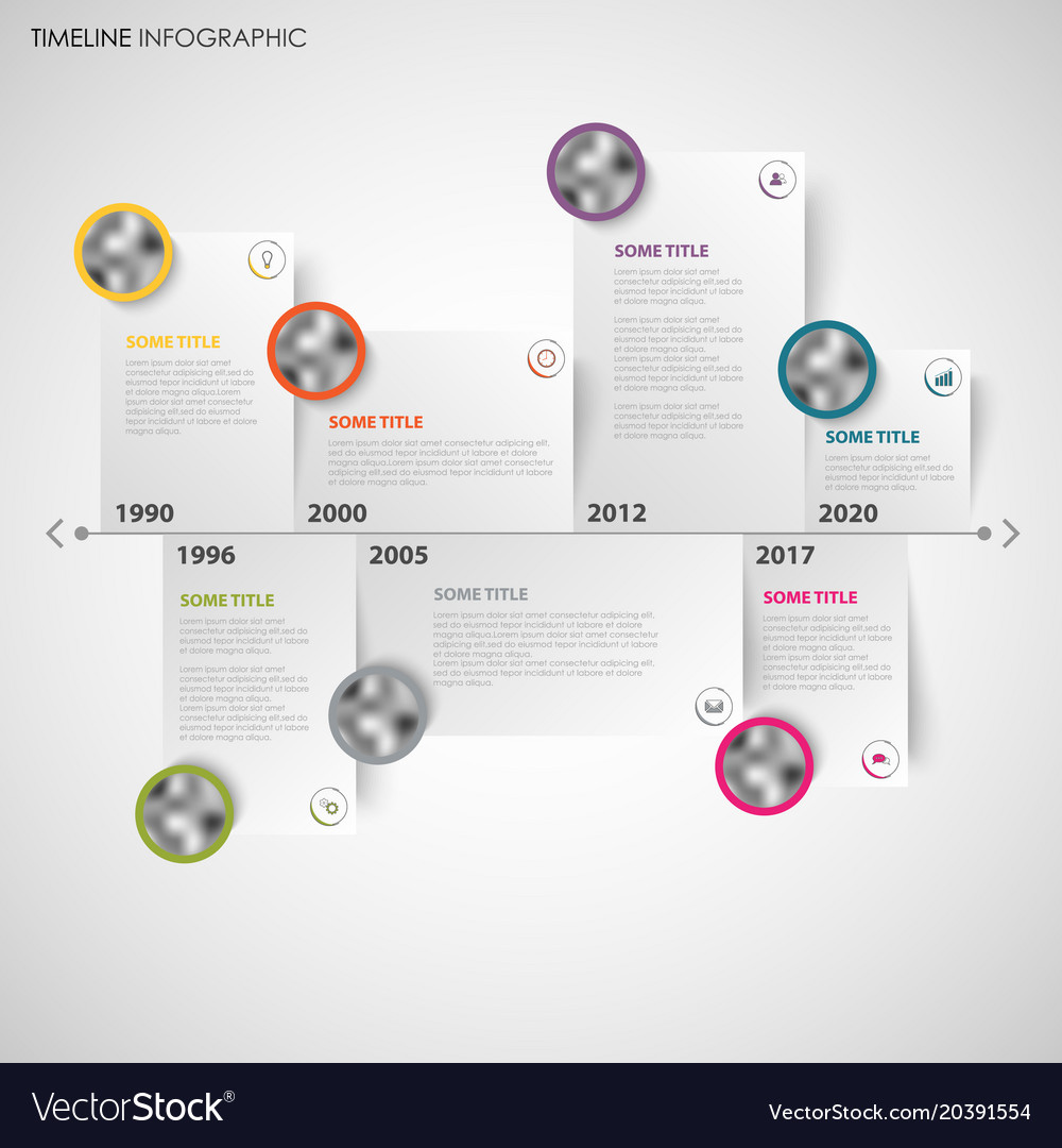 Time line info graphic with note papers and