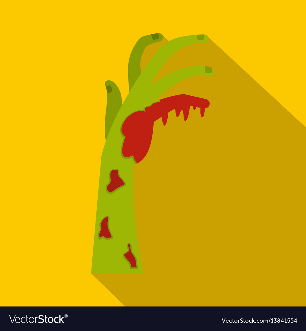 Zombie green bloody hand icon flat style