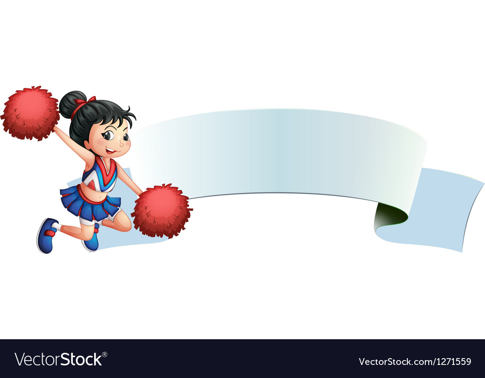 A cheerleader beside an empty space vector image