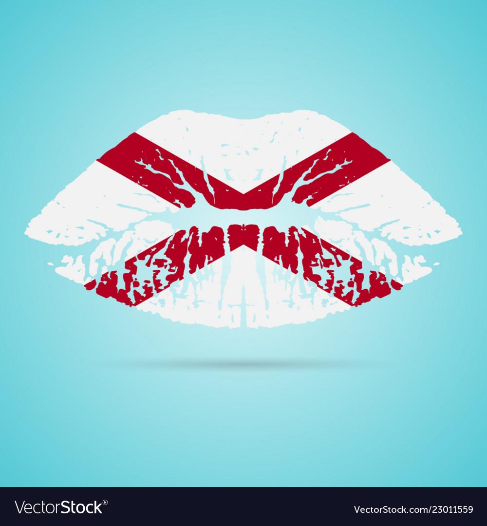 Alabama flag lipstick on the lips isolated on a