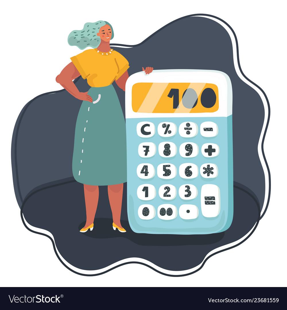 Business woman standing near big calculator