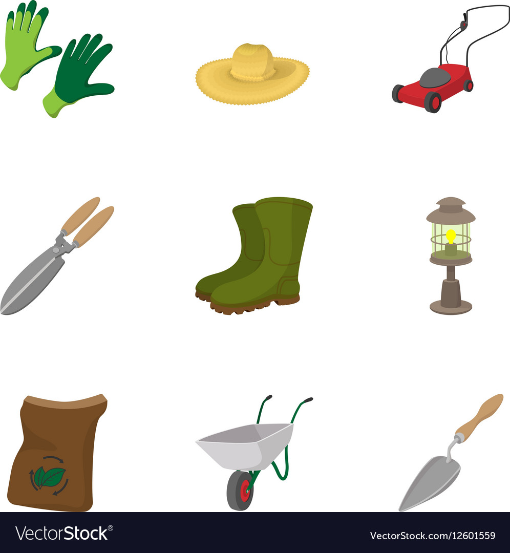 Care garden icons set cartoon style vector image