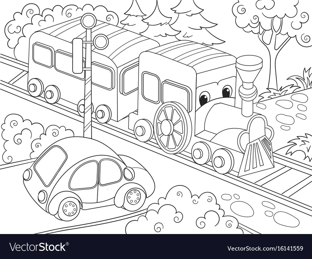 - Cartoon Train Train And Car Coloring Book For Vector Image