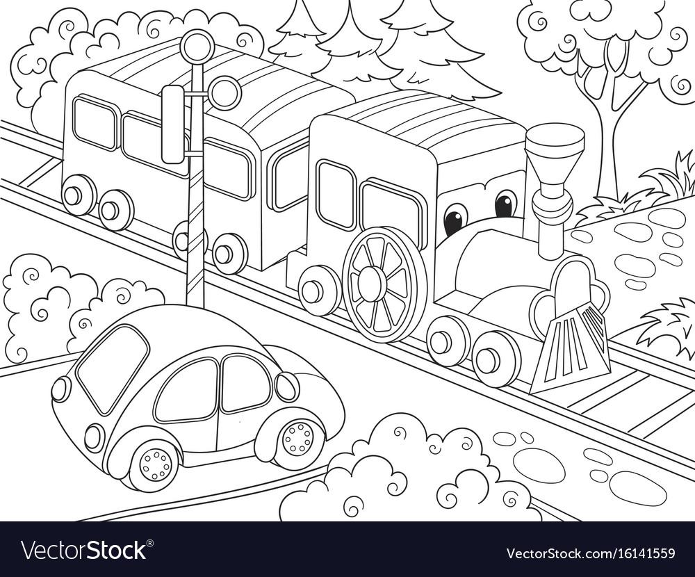 Cartoon train train and car coloring book Vector Image