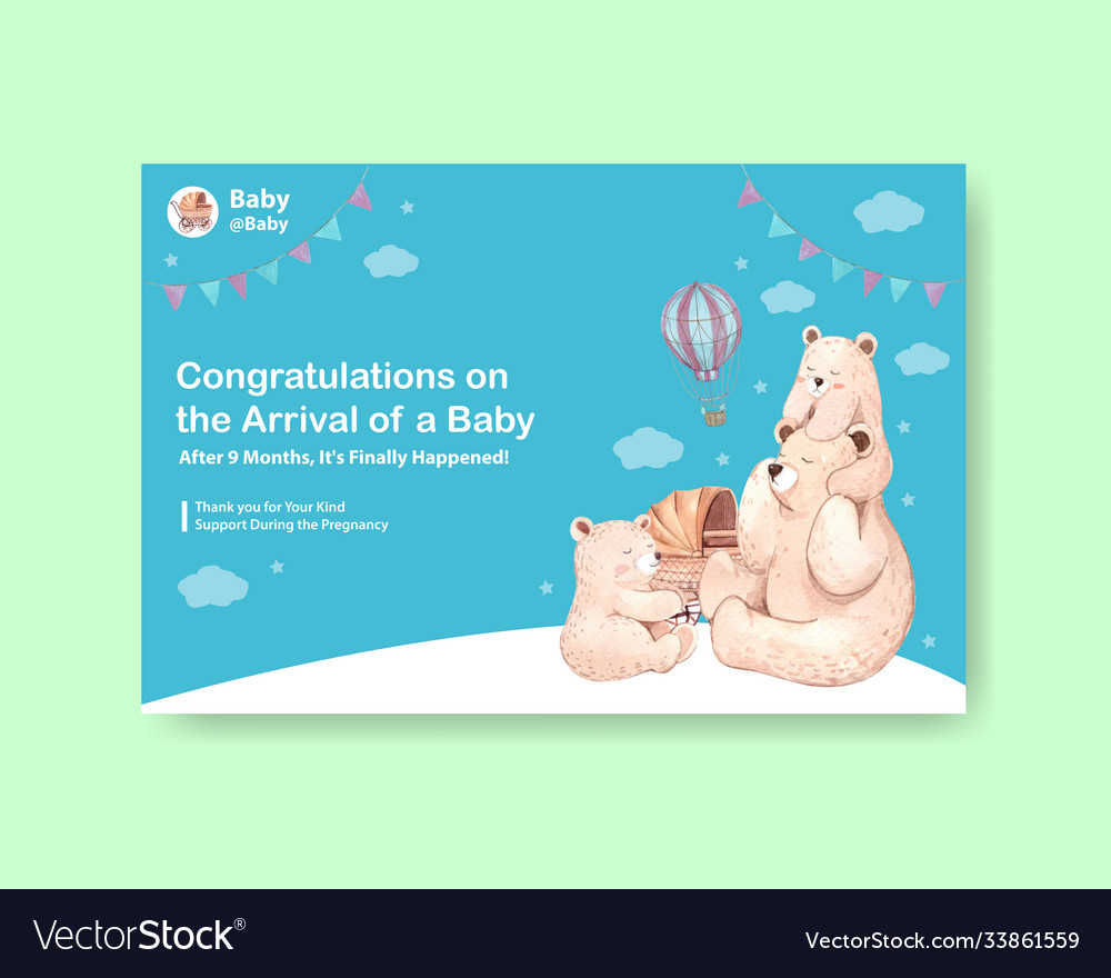 Facebook template with baby shower design concept