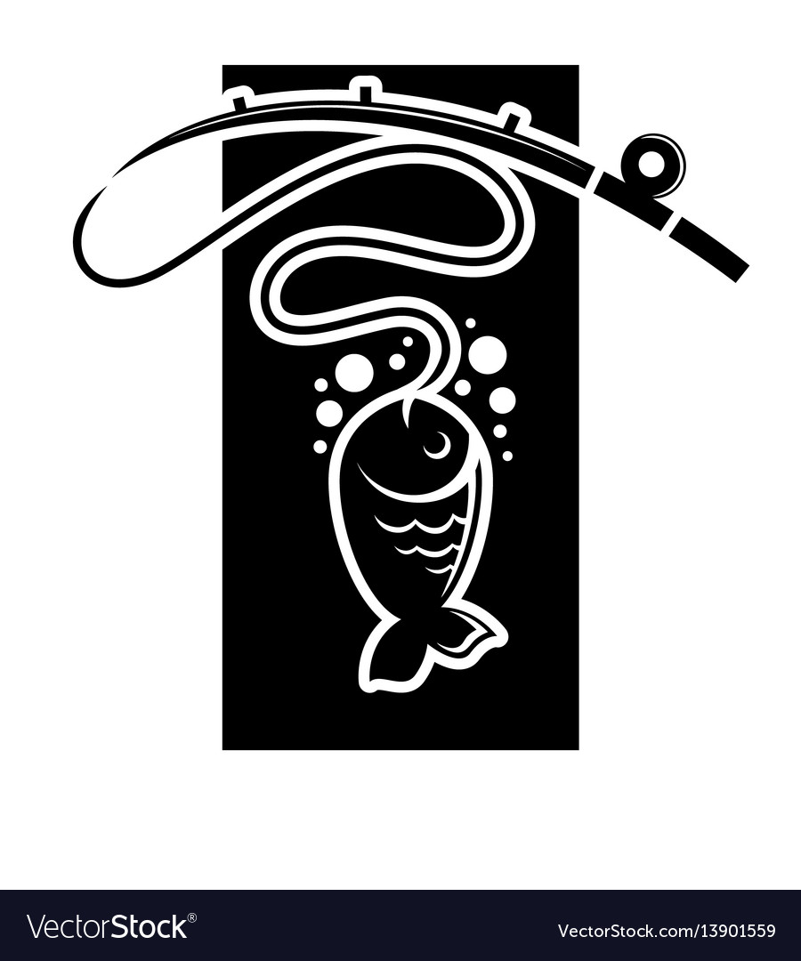Fishing icon of fish catch on hook template