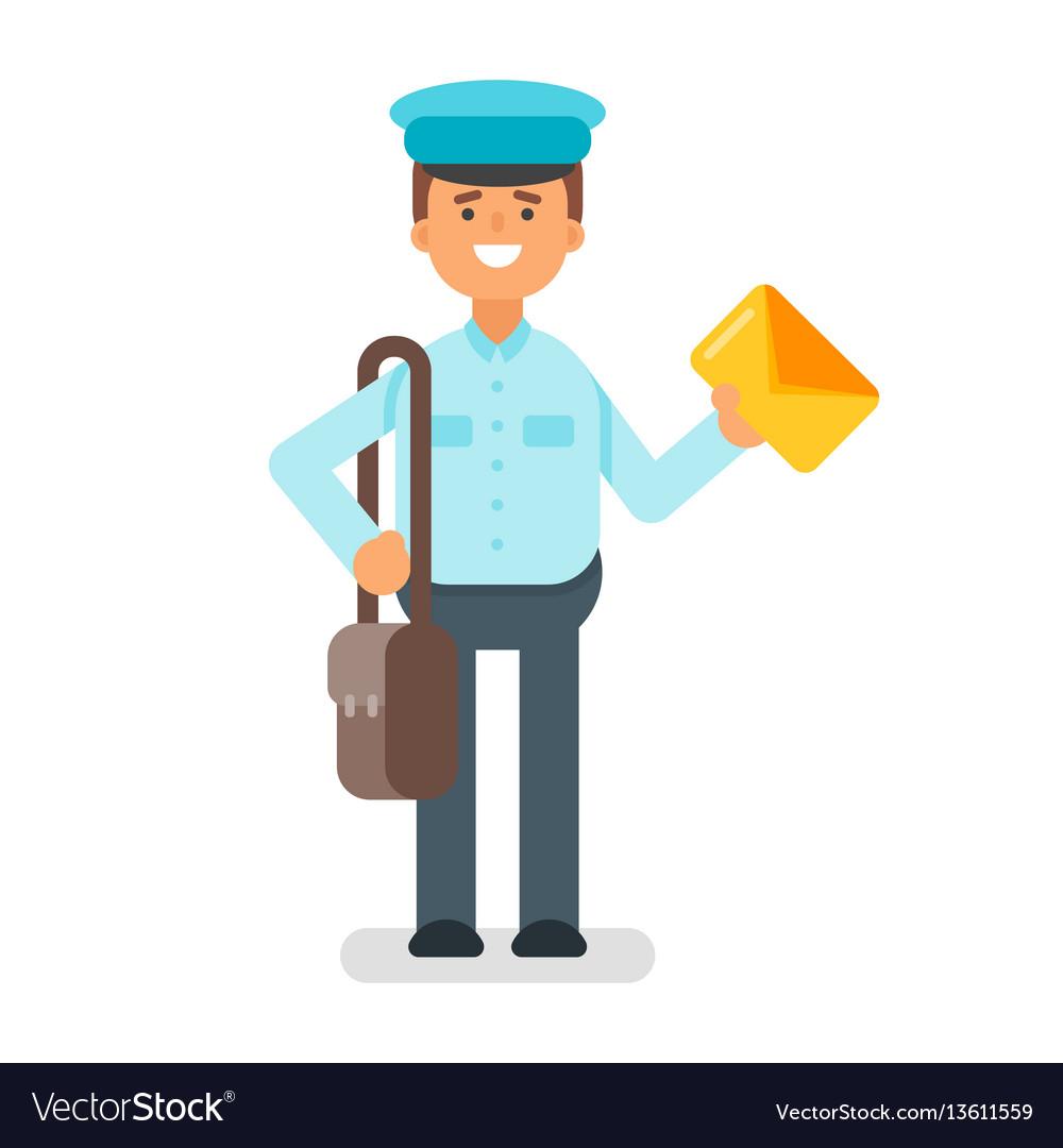 Flat style of postman