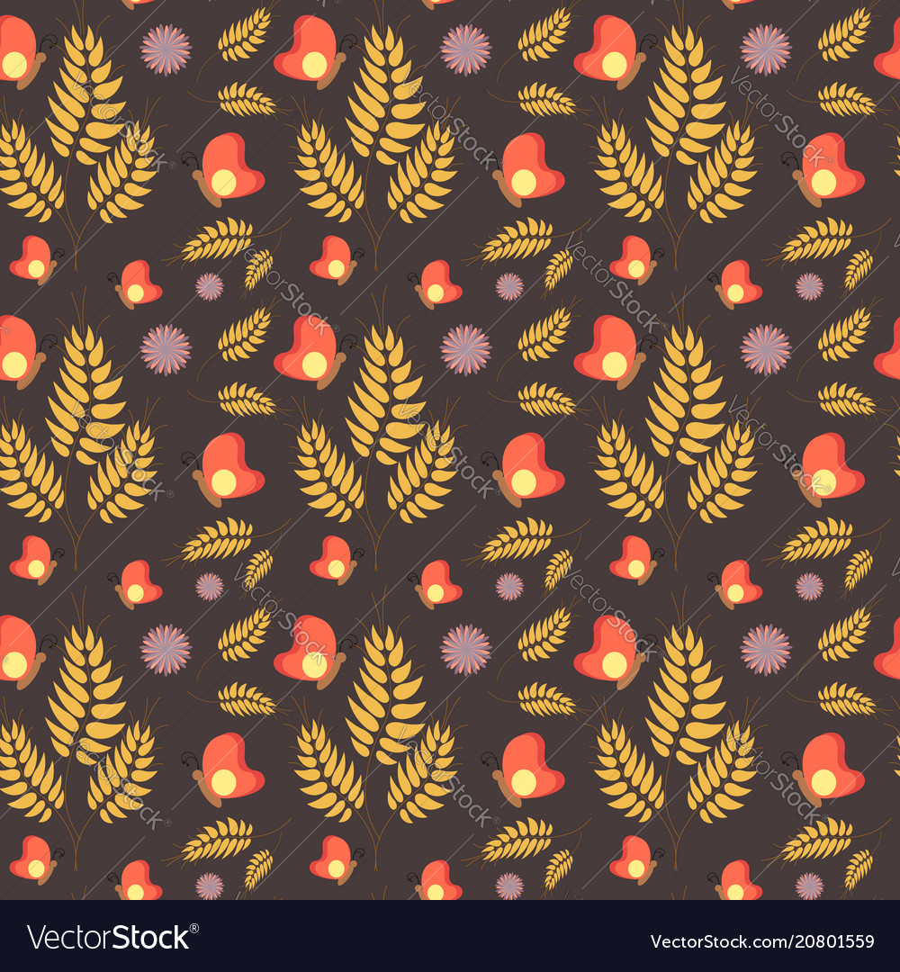 Floral seamless summer pattern brown background