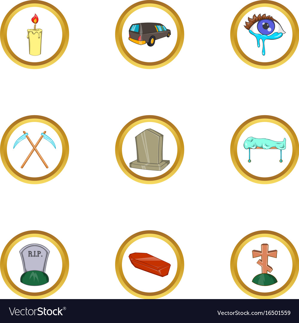 Funeral ceremony icon set cartoon style vector image
