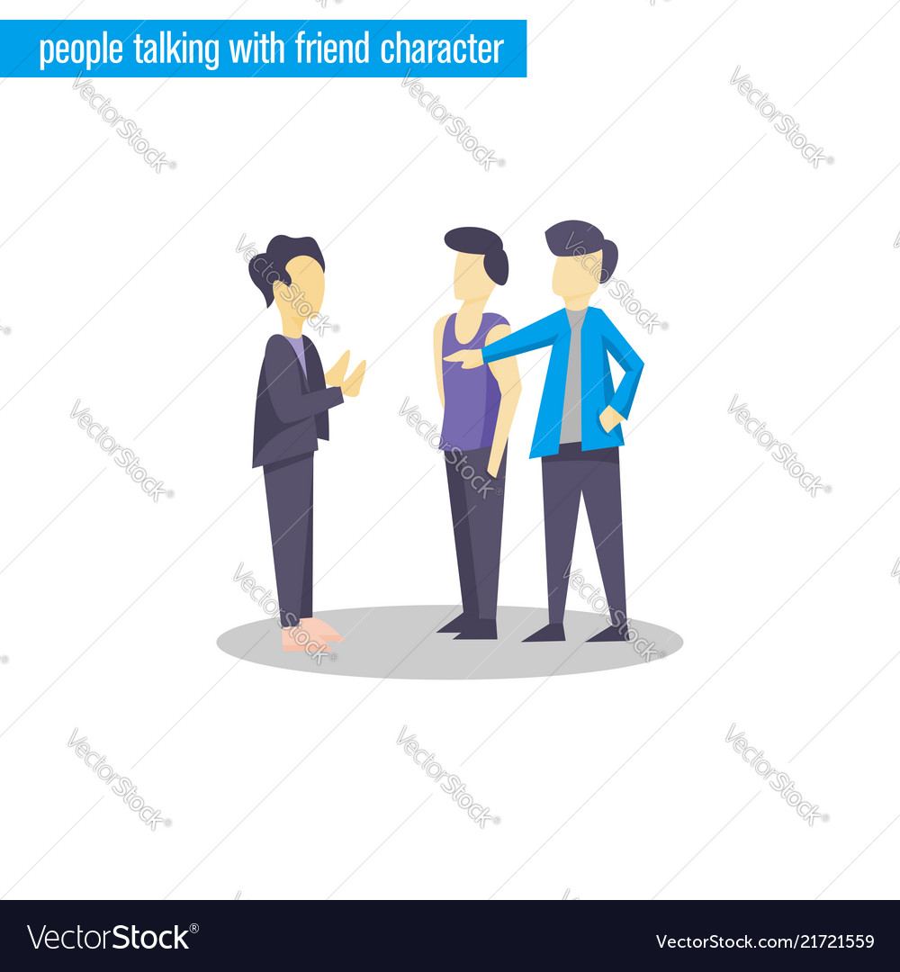 People talking character flat design