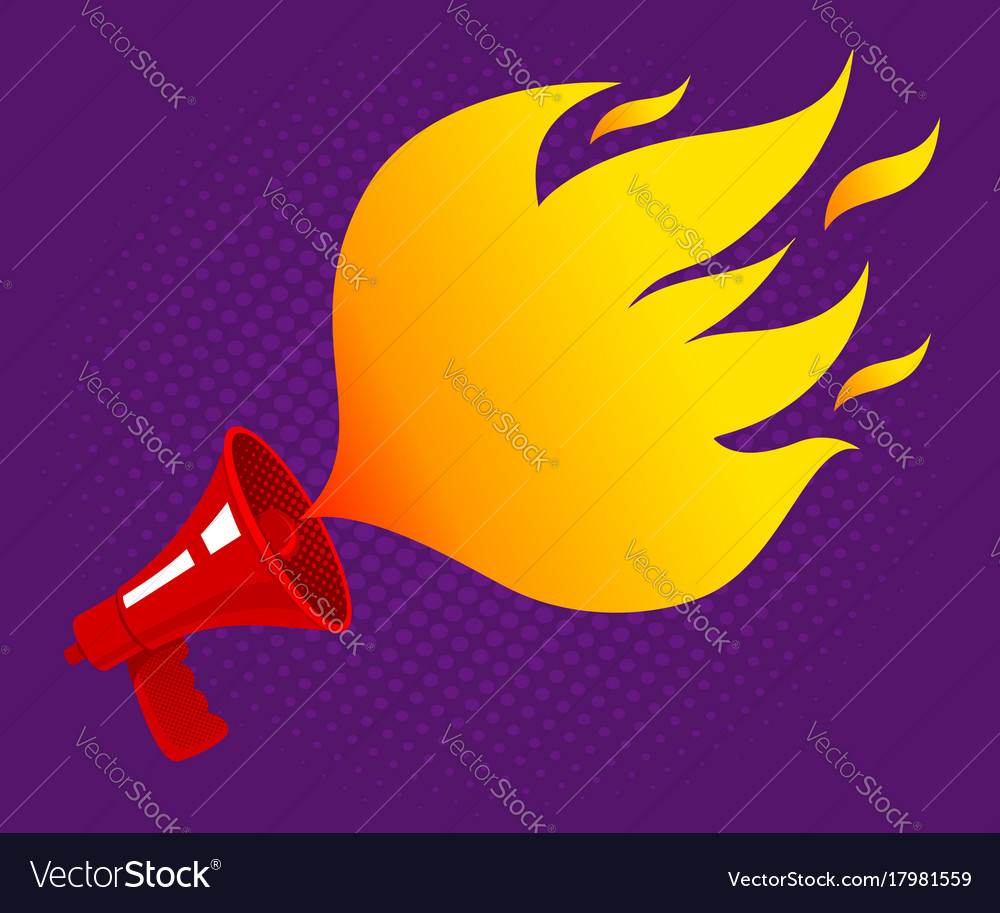 Retro megaphone with fire vector image