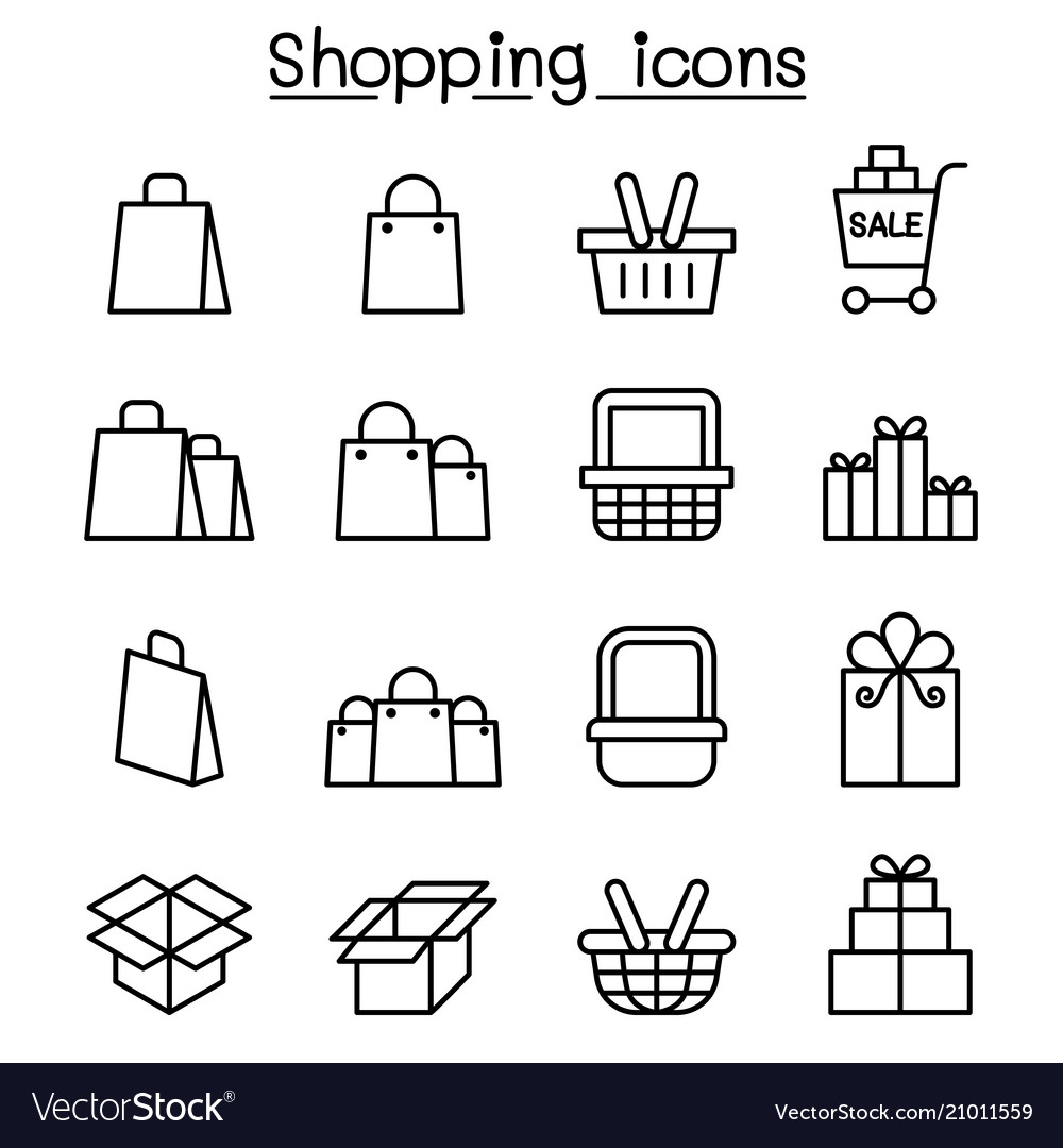Shopping icon set in thin line style
