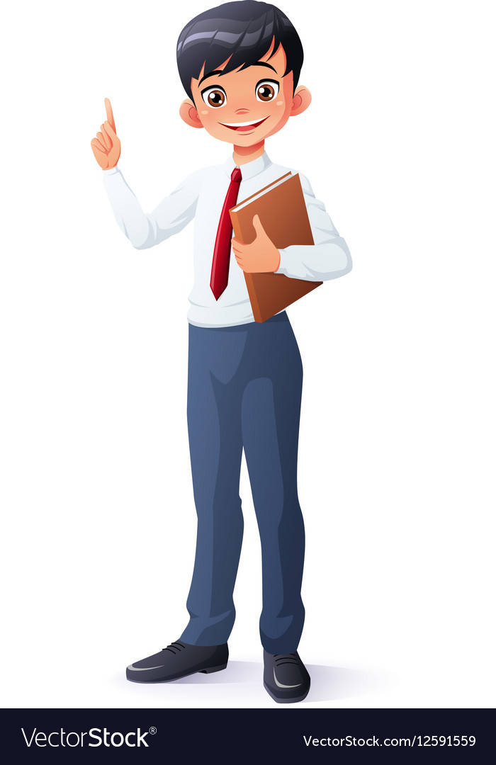 Smart young Asian school boy index finger vector image