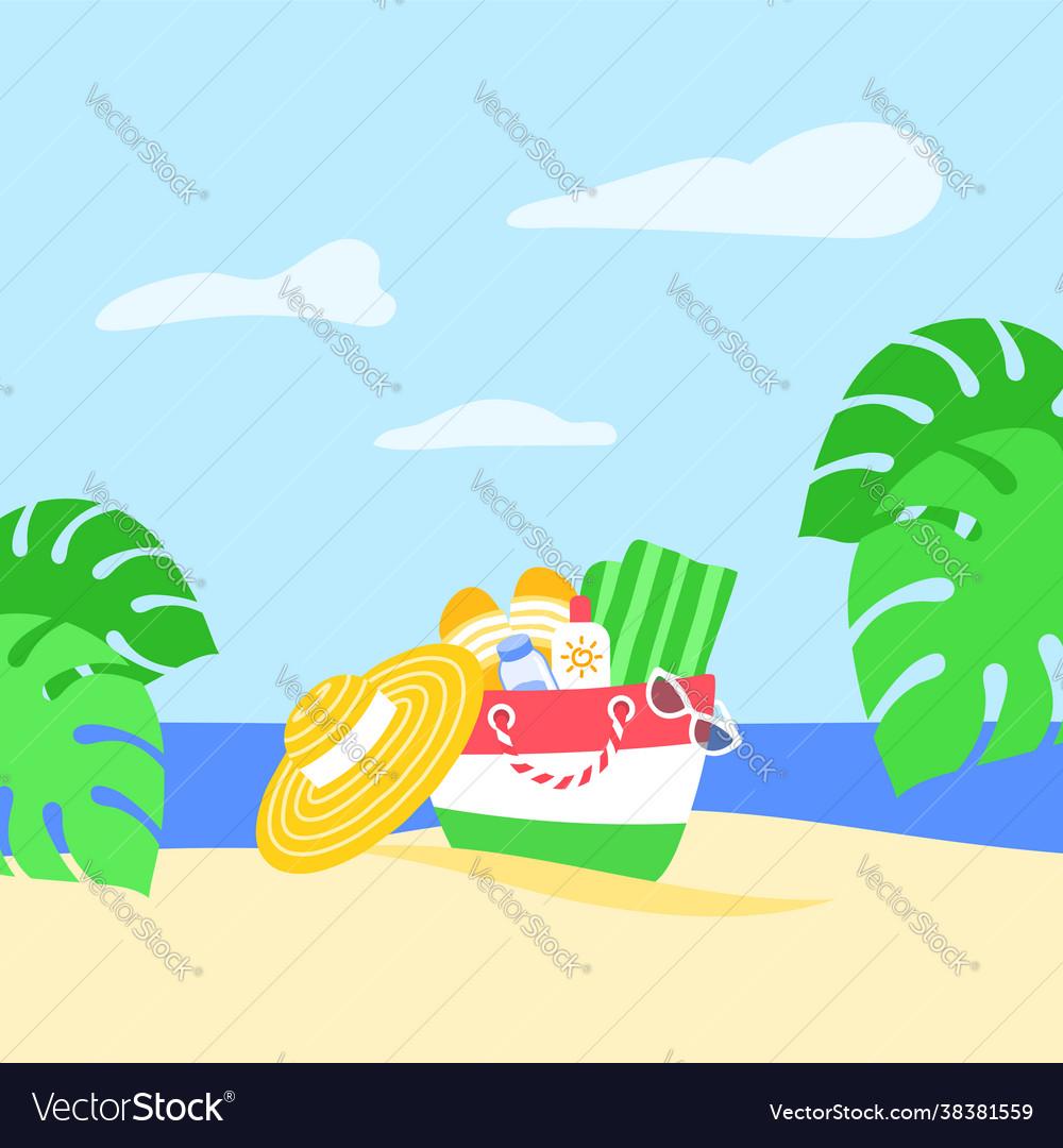 Summer vacation beach bag tropical leaves banner