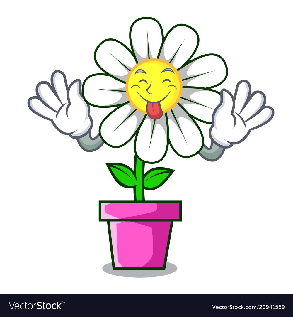 Tongue out daisy flower mascot cartoon royalty free vector tongue out daisy flower mascot cartoon vector image izmirmasajfo