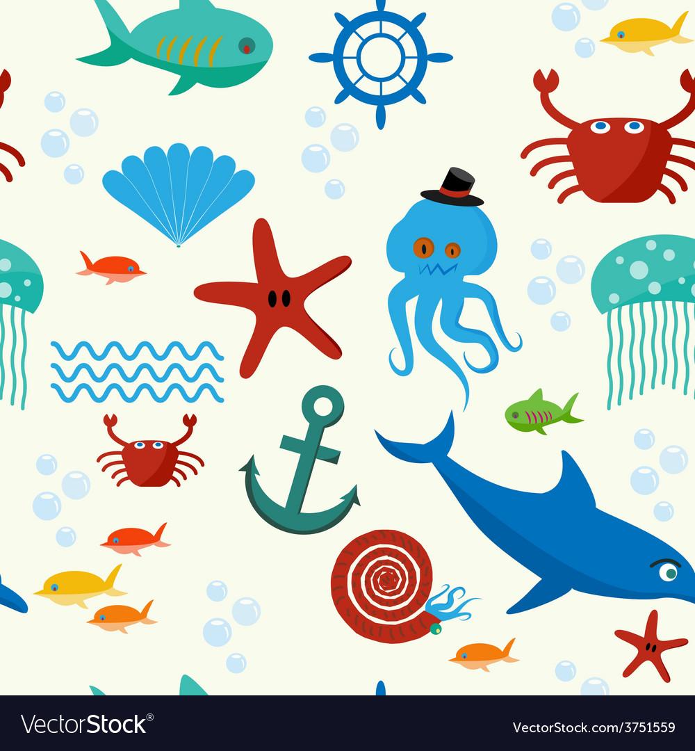 Underwater and sea animals seamless pattern