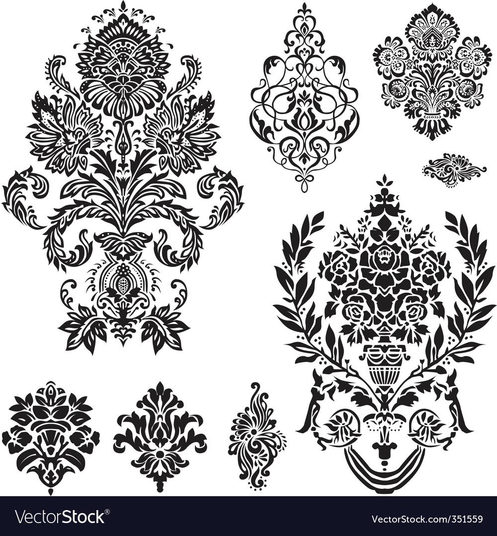 Vector damask ornament set vector image