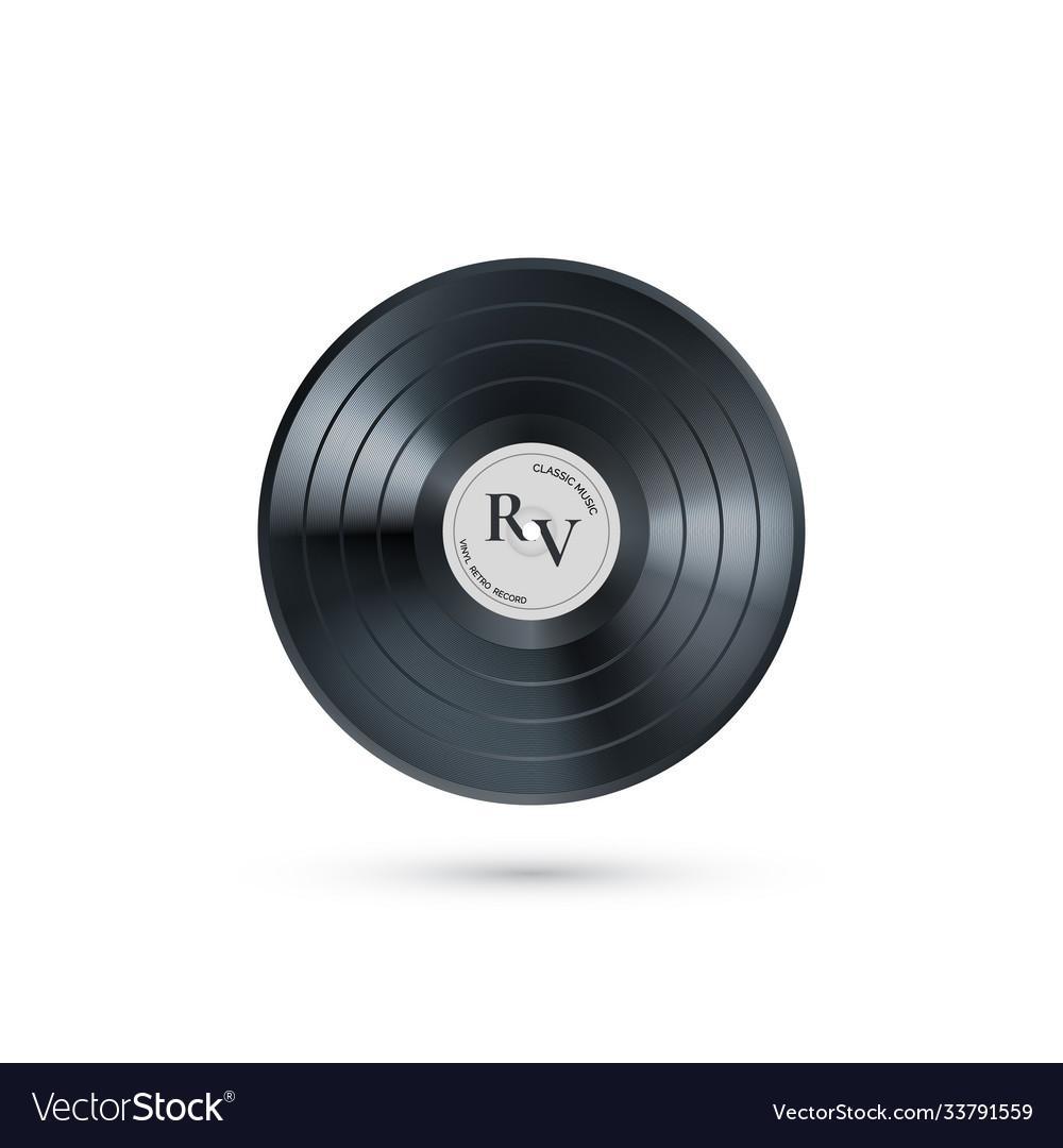 Vinyl music record retro audio disk realistic