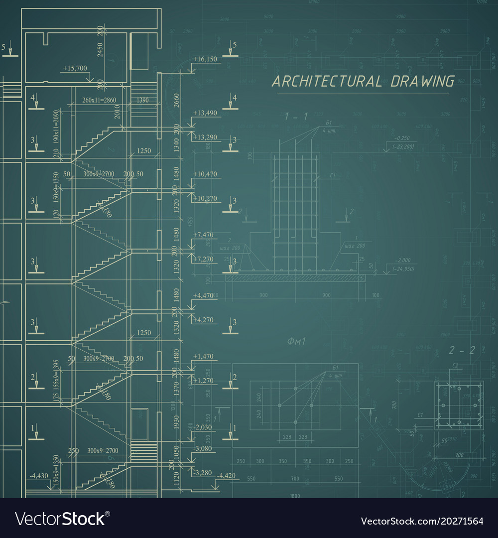 Architectural blueprint building background vector image malvernweather Choice Image