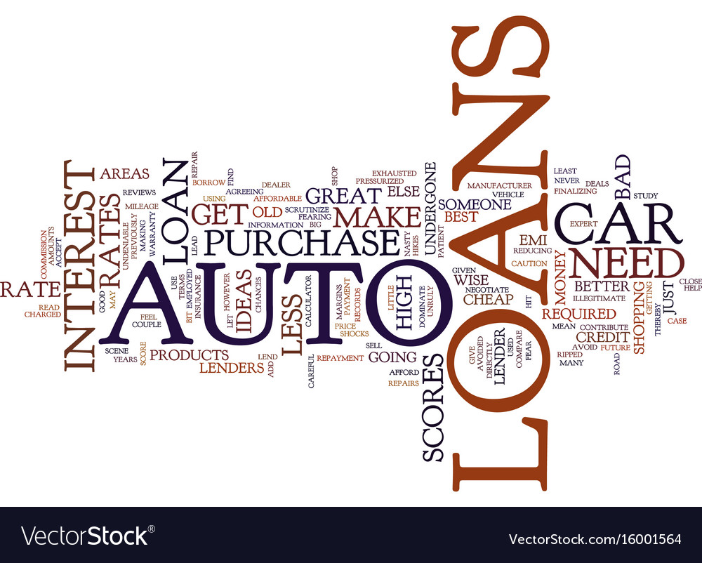 Auto loans are great ideas text background word