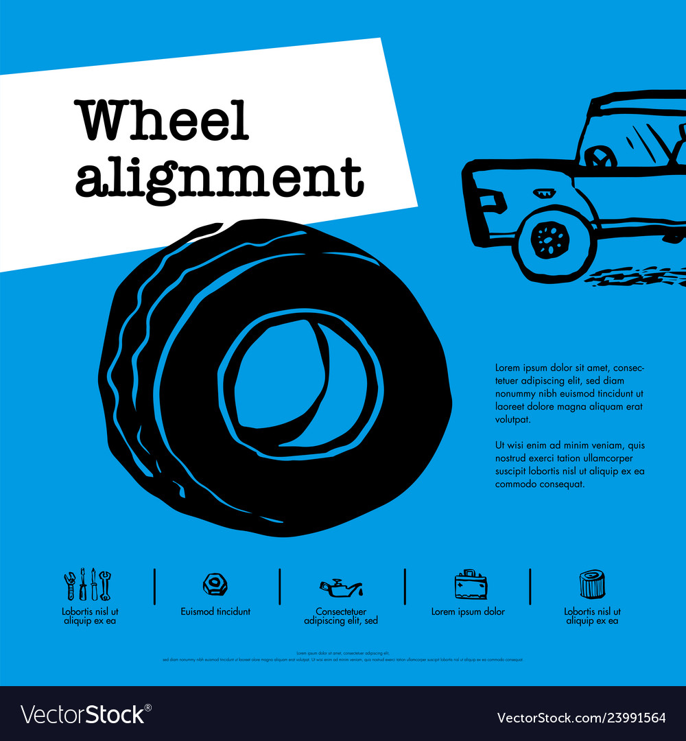 Car service concept web banner wheel alignment