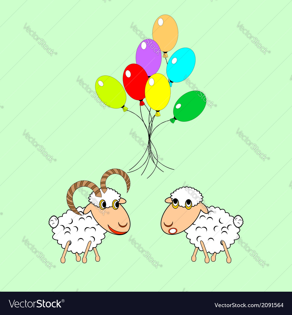 Cartoon sheep and ram with colorful balloons