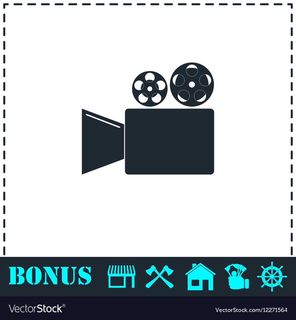Cinema camera icon flat