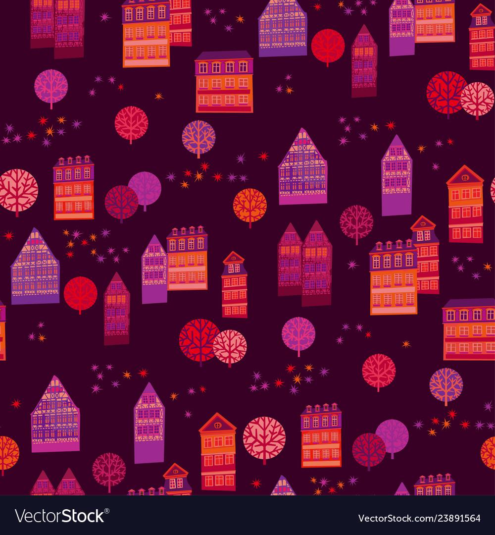 Cityscape hand drawn seamless pattern