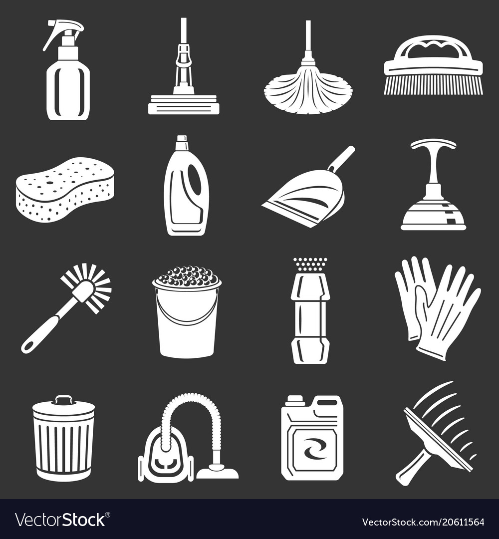 Cleaning icons set grey
