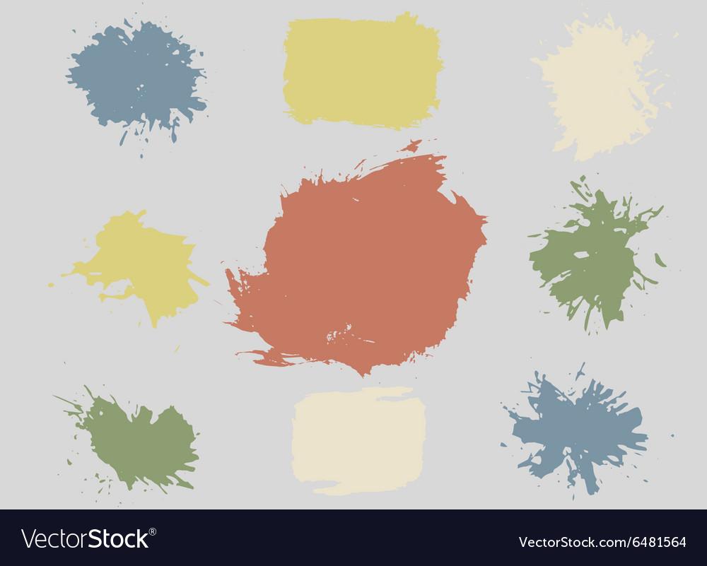 Colorful Retro Stains Blots Splashes Set