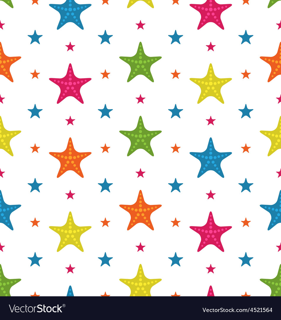 Colorful Starfishes Summer Seamless Background